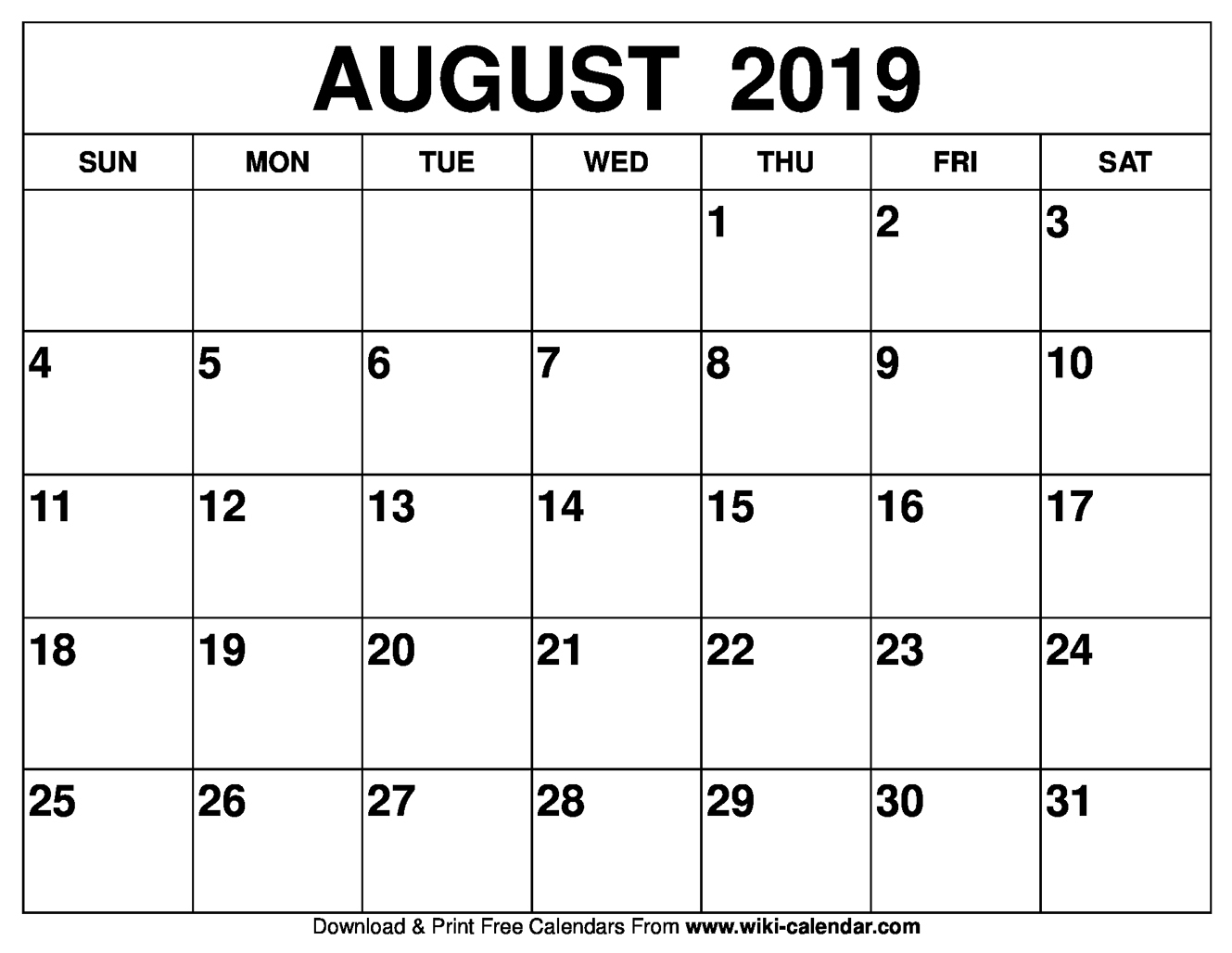 Calendar Of August 2019 Printable Monthly Template - Free