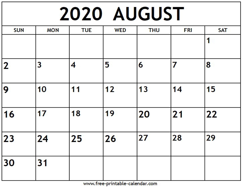 Calendar Of August 2020