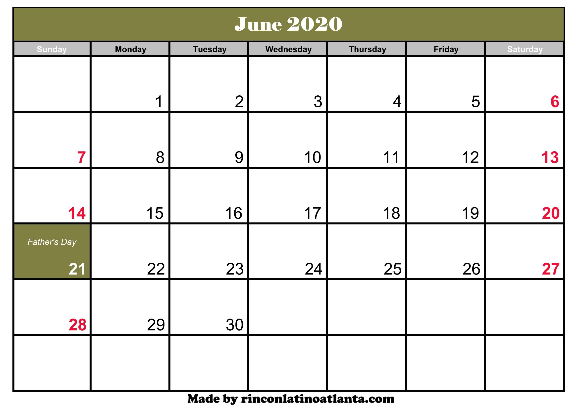 Calendar Of June 2020 Calendar Of June 2020 : Calendar Of