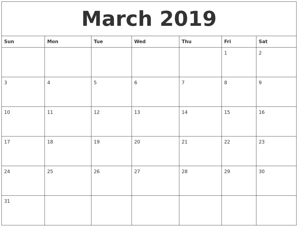 Calendar Of March 2019 Pdf | Free March 2019 Calendar