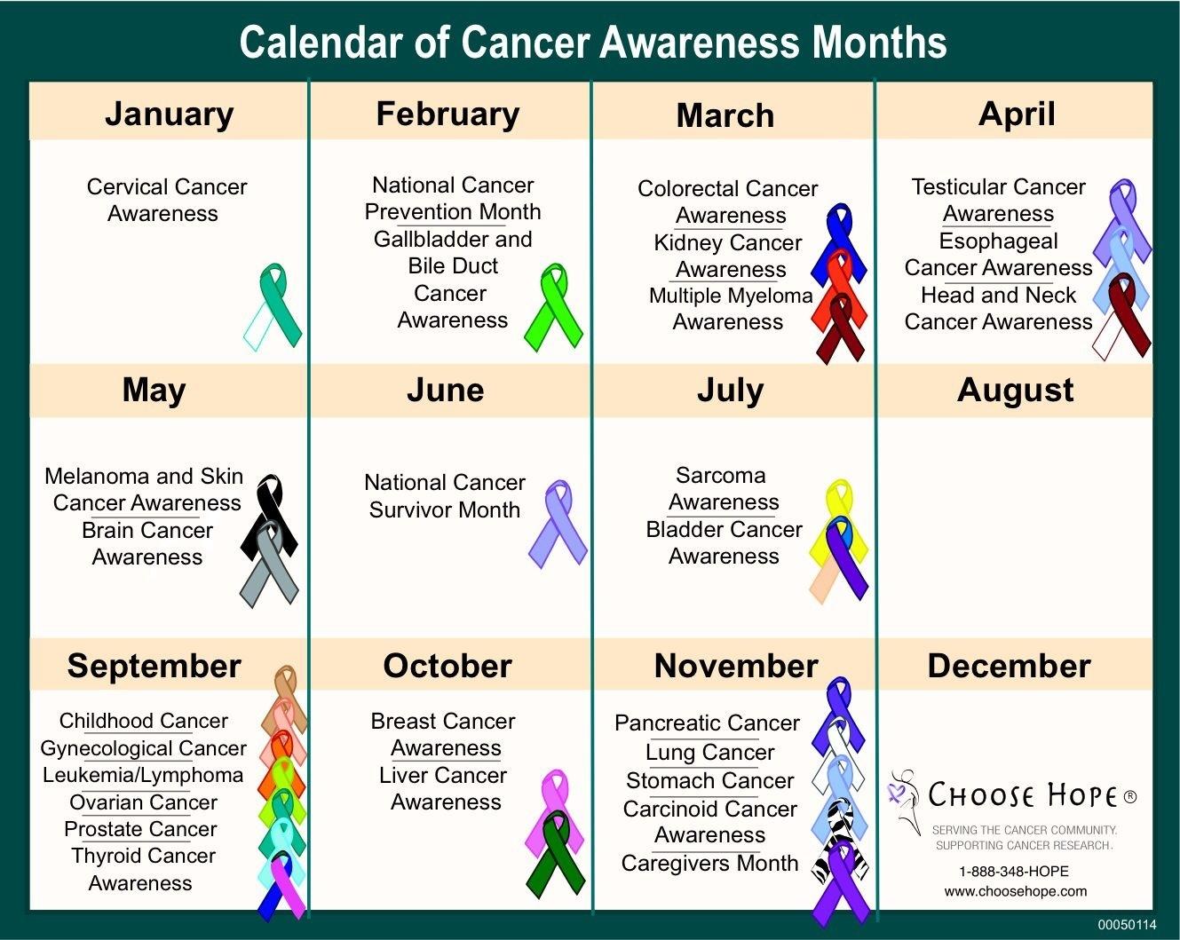 Calendar Of Monthly Awareness • Printable Blank Calendar