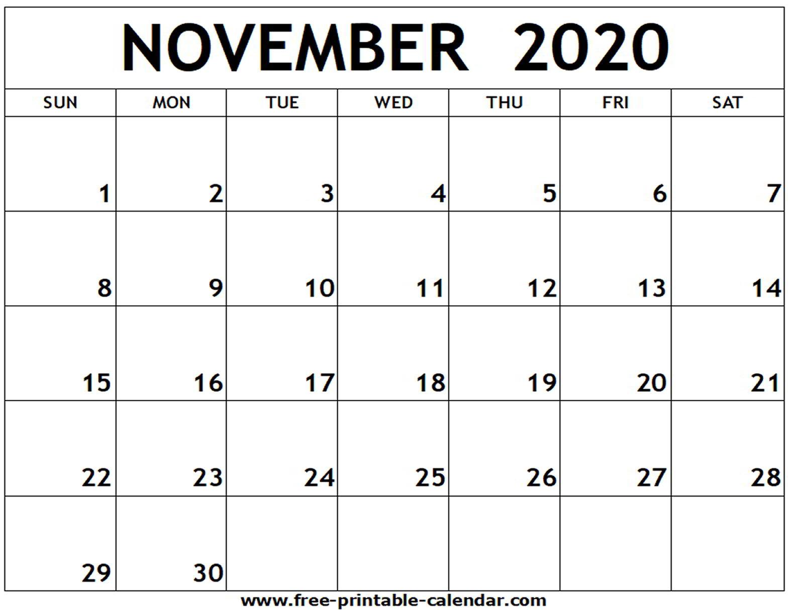 Calendar Of November 2020