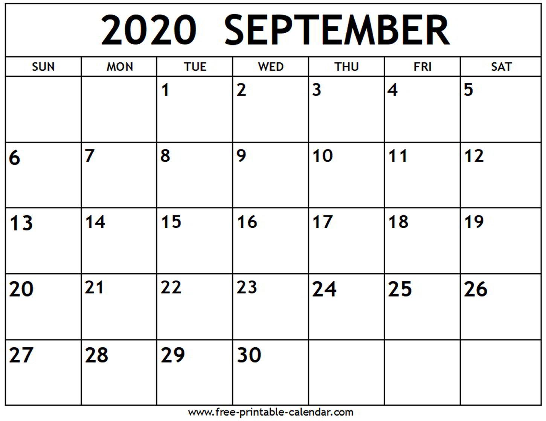 Calendar Of September 2020