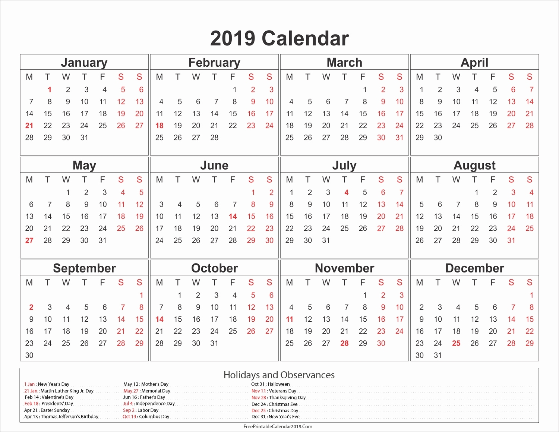 Calendar Philippine Holidays 2019 • Printable Blank Calendar