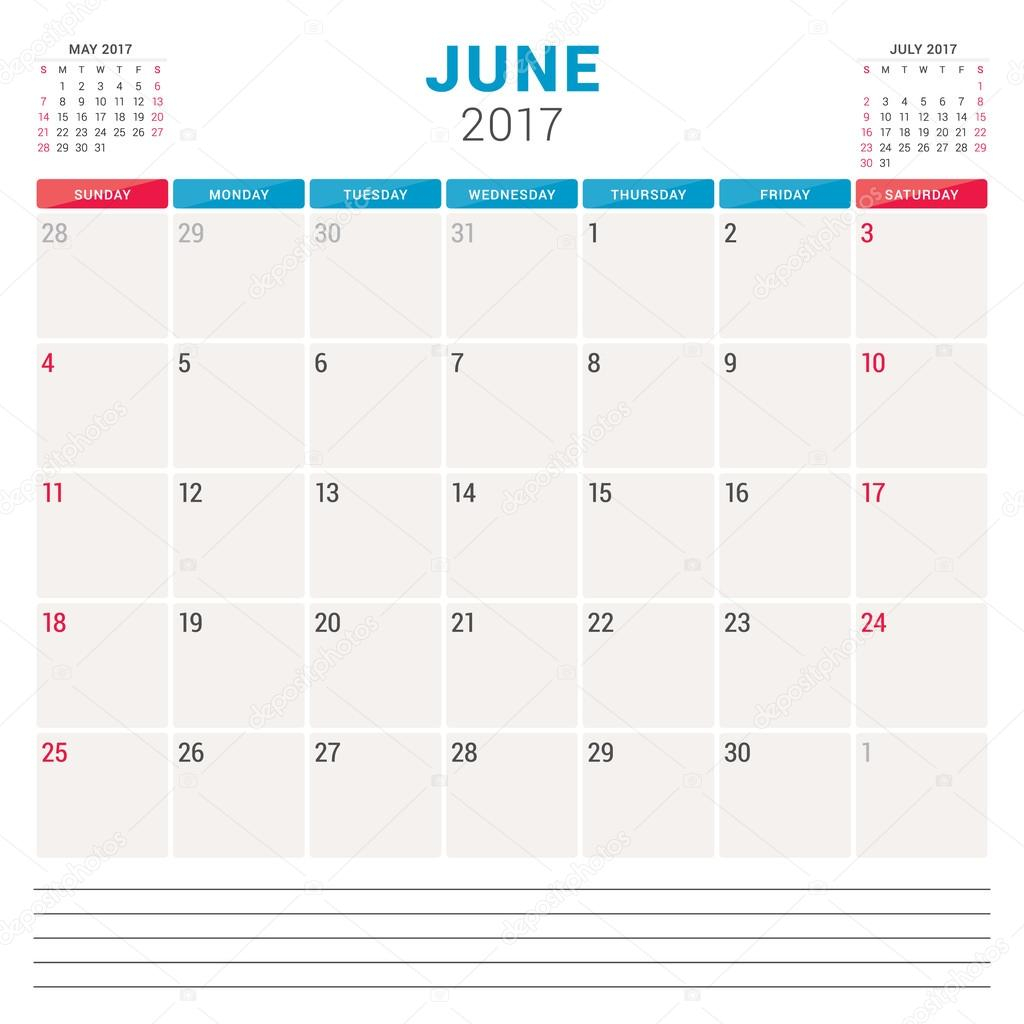 Calendar Planner For 2017 Year. Vector Design Template With