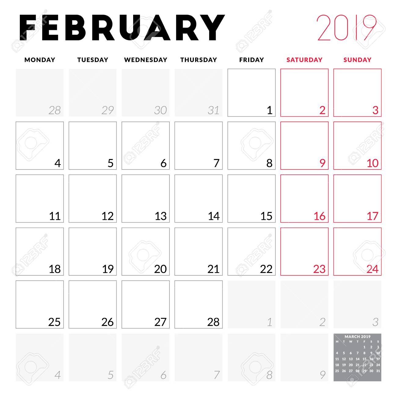 Calendar Planner For February 2019. Week Starts On Monday. Printable..
