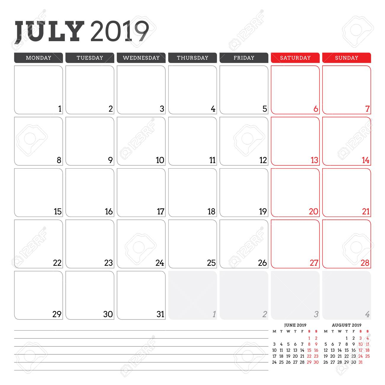 Calendar Planner For July 2019. Week Starts On Monday. Printable..