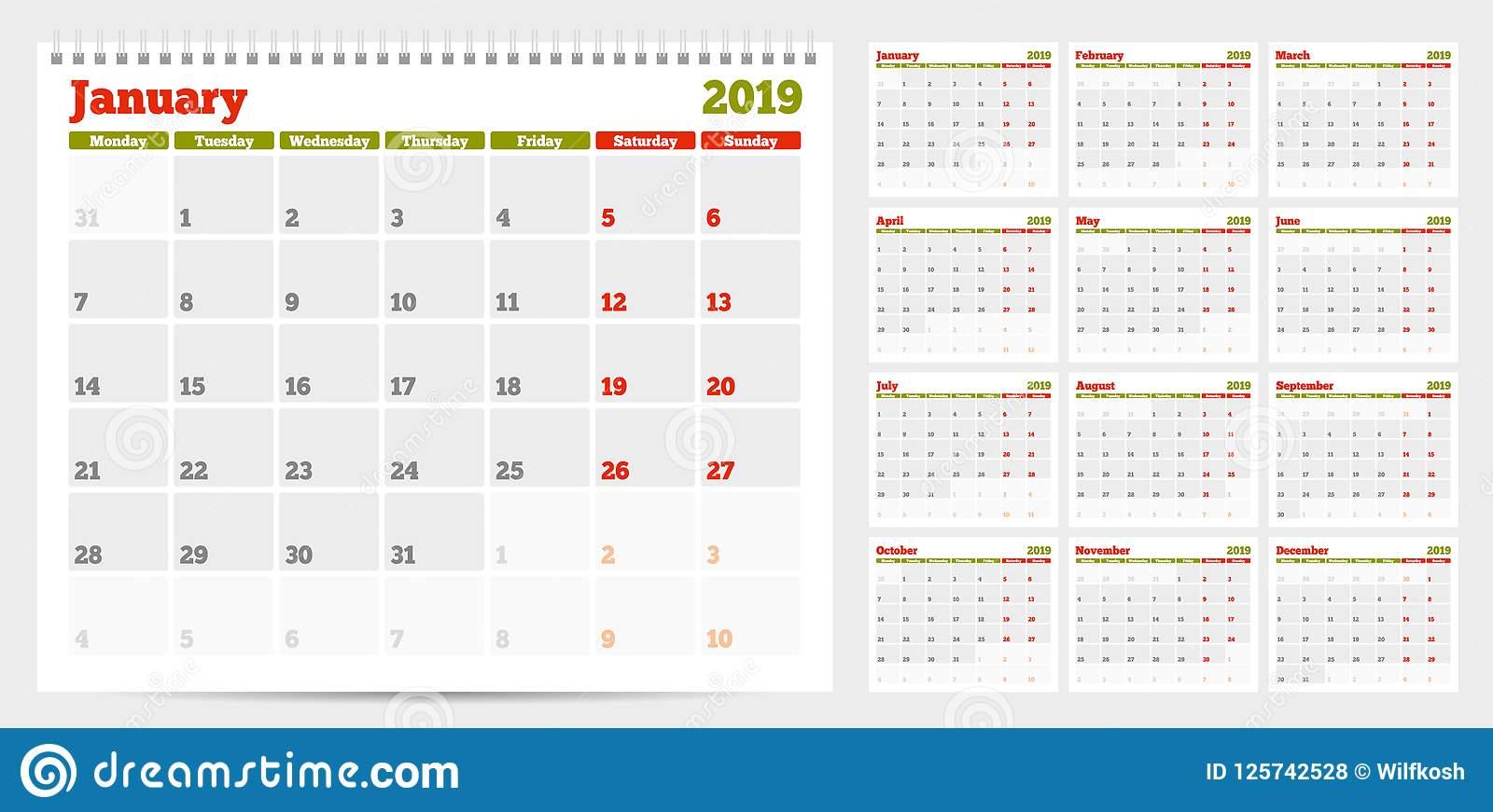 Calendar Planner Template 2019. Week Start From Monday