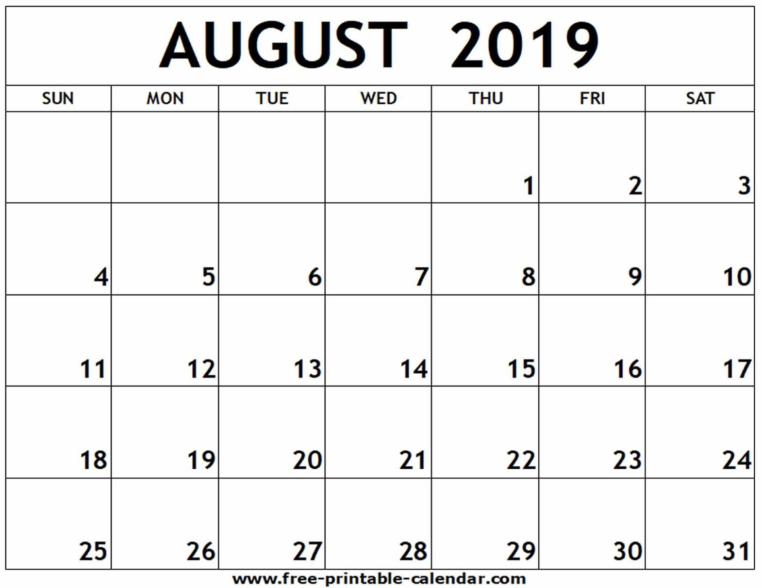 Calendar Print Out August 2019 | Calendar Format Example