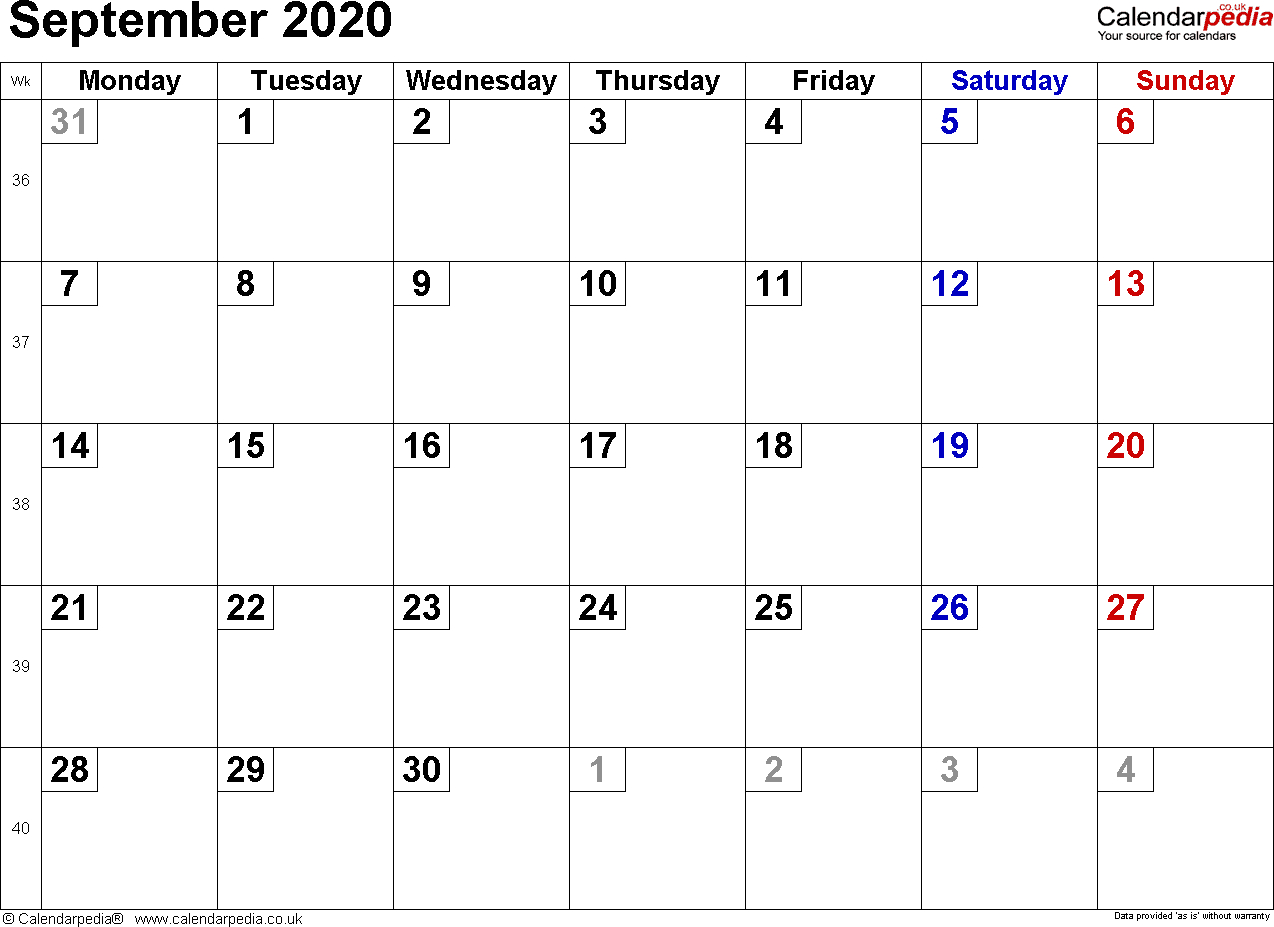 Calendar September 2020 Uk, Bank Holidays, Excel/pdf/word