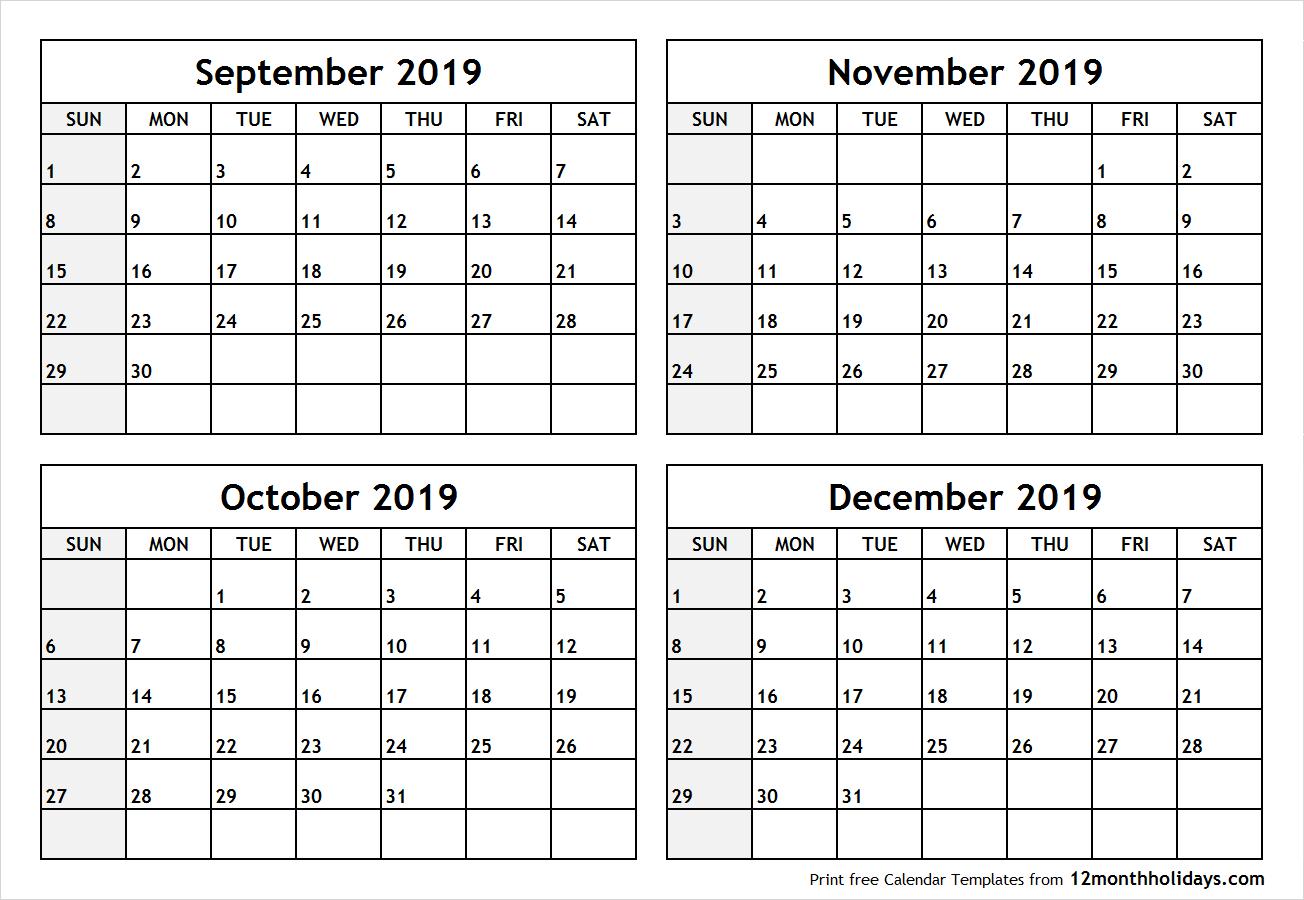 Calendar Septemeber Through December 2019 | Example Calendar