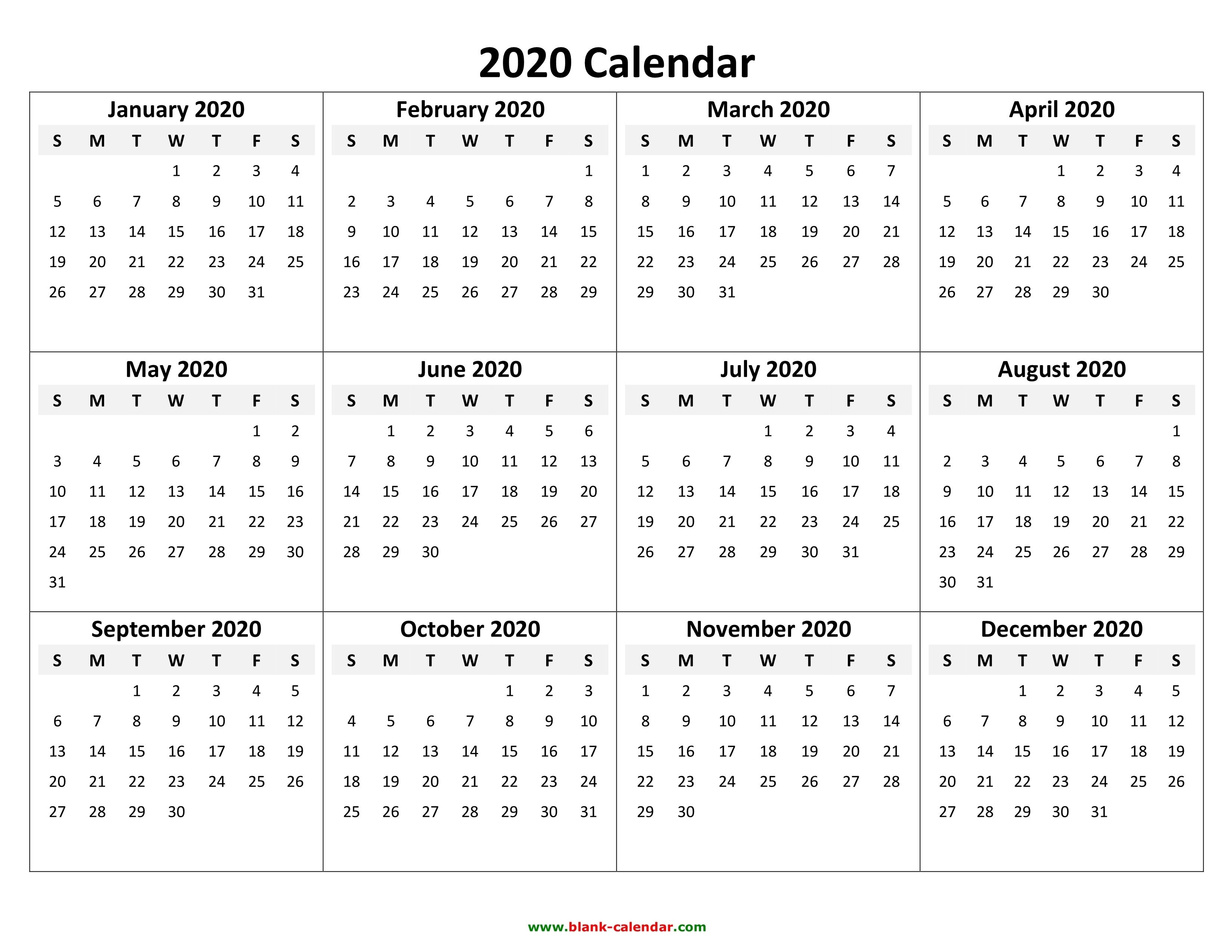 Calendar Template 2020 | One Page Calendar Printable