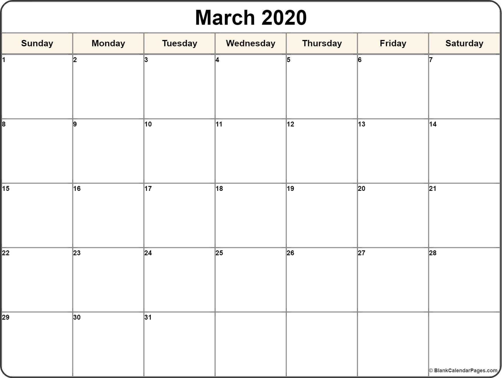 Calendar Template 2020 | One Page Calendar Printable