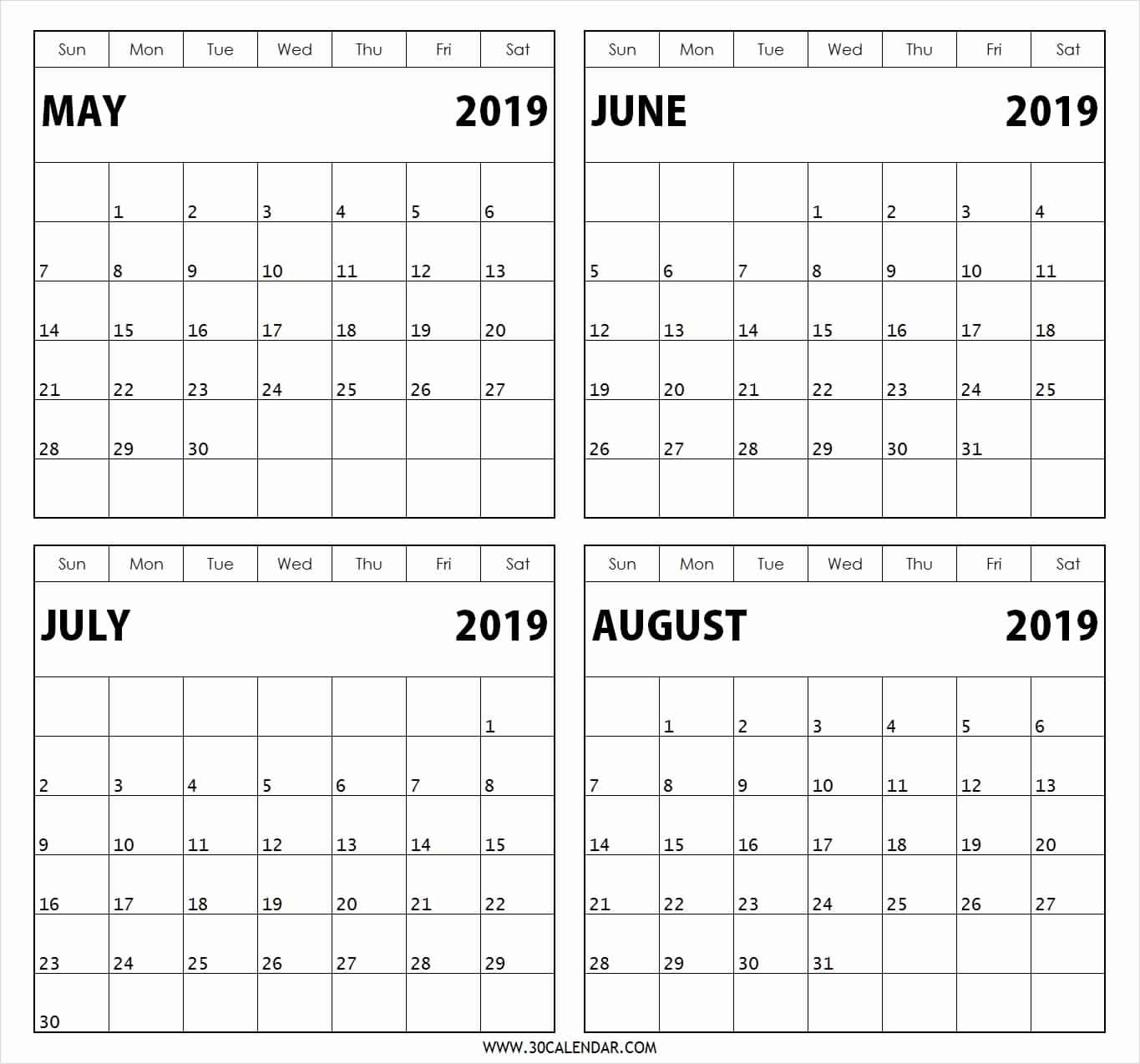 Calendar Template 4 Months Per Page • Printable Blank