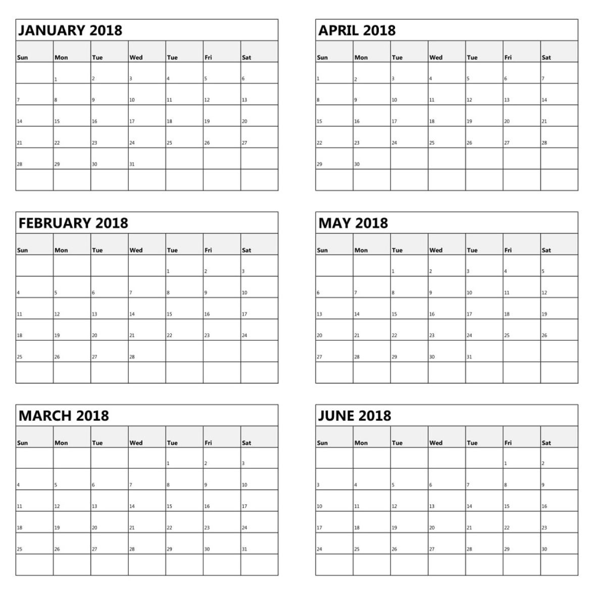 Calendar Template 6 Months On One Page • Printable Blank
