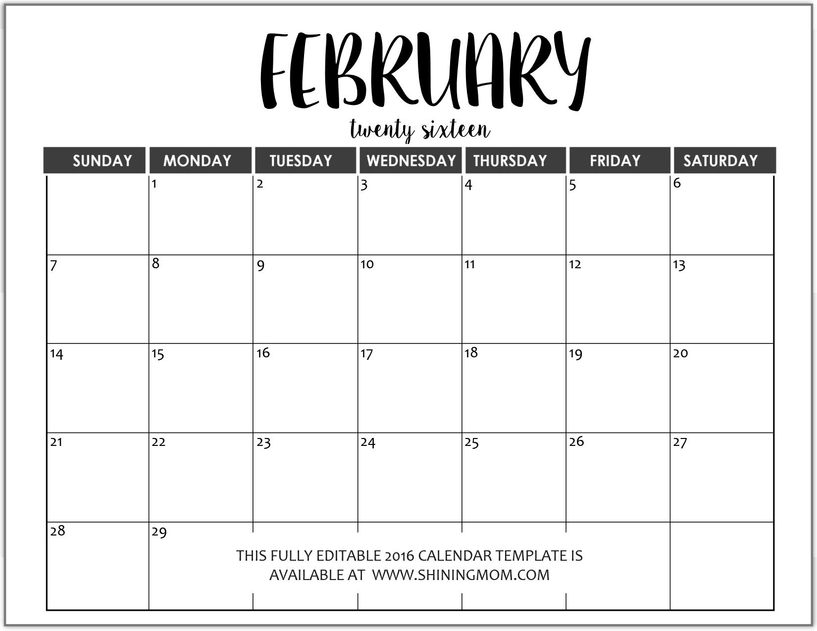 Calendar Template Editable   One Page Calendar Printable