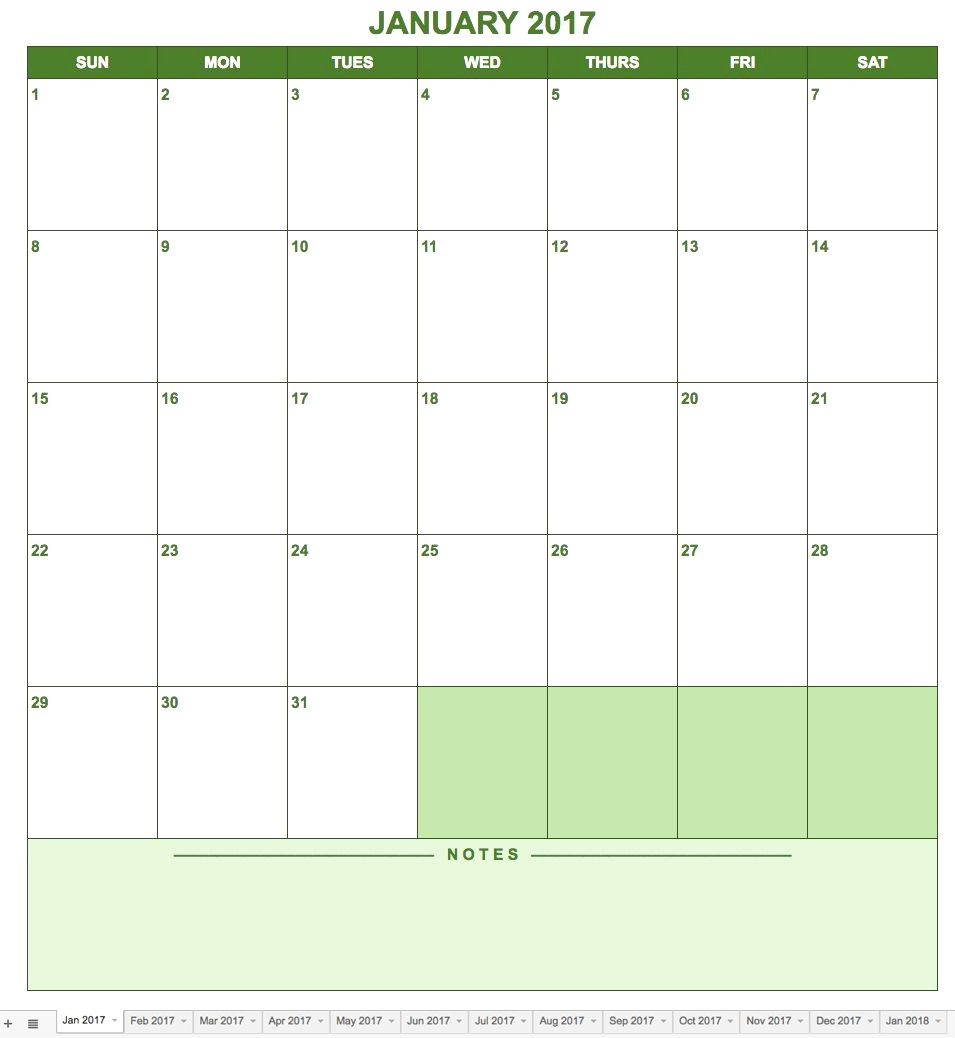 Calendar Template Google Docs Spreadsheet | Jcreview