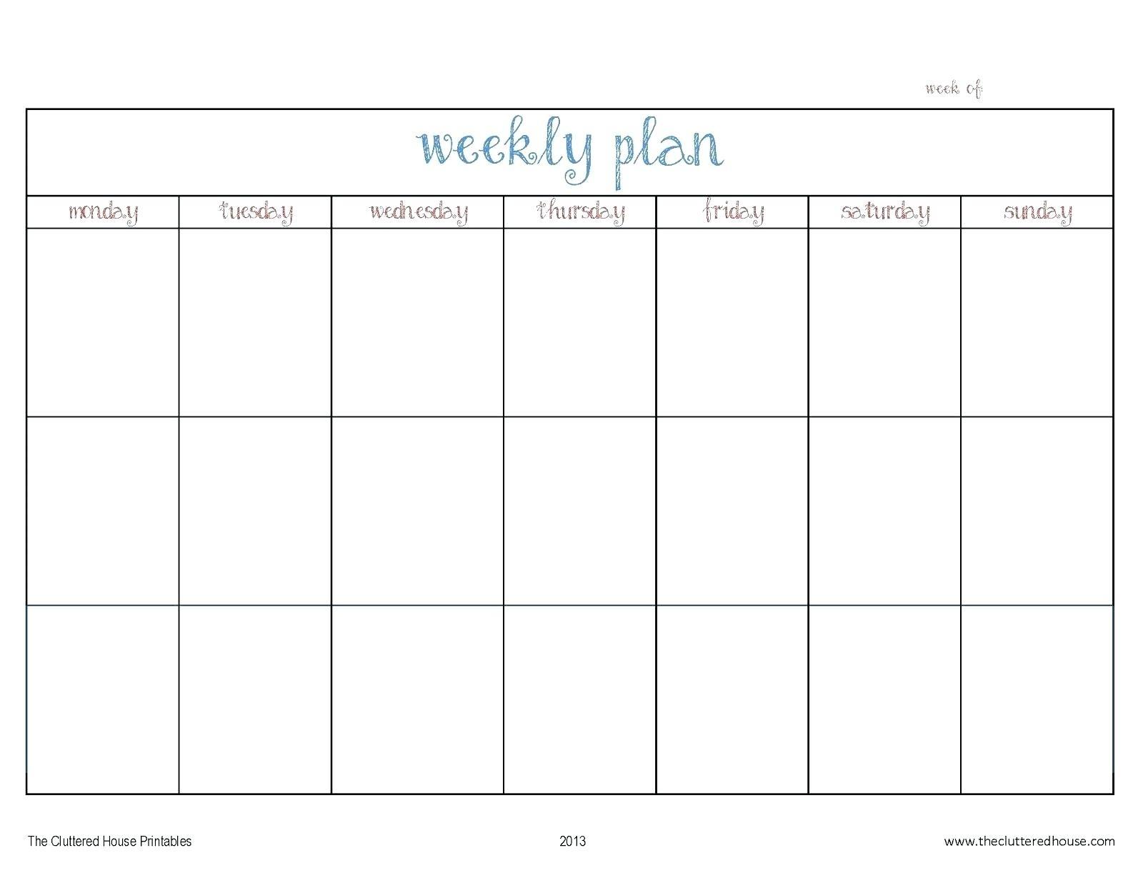 Calendar Template Monday Through Friday • Printable Blank