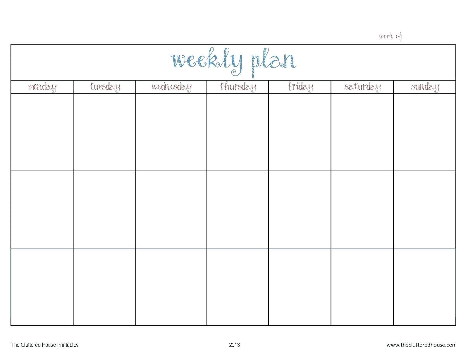 Calendar Template Monday Through Friday • Printable Blank