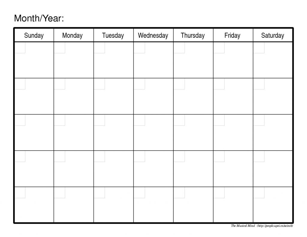 Calendar Template To Fill In And Print | One Page Calendar