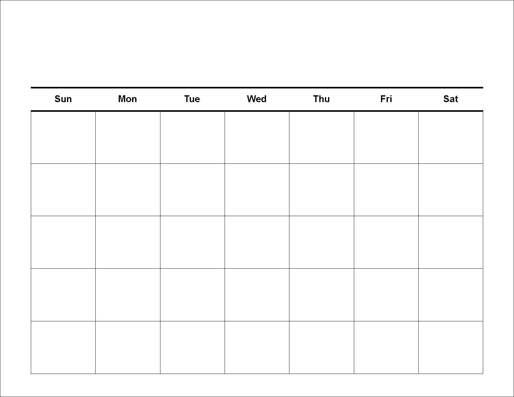 Calendar Template To Fill In • Printable Blank Calendar Template