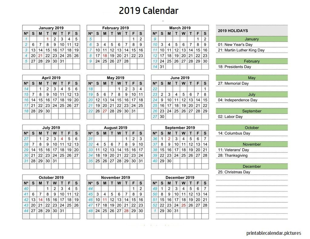 Calendar W Holidays | 2019 Calendar With Date Boxes And