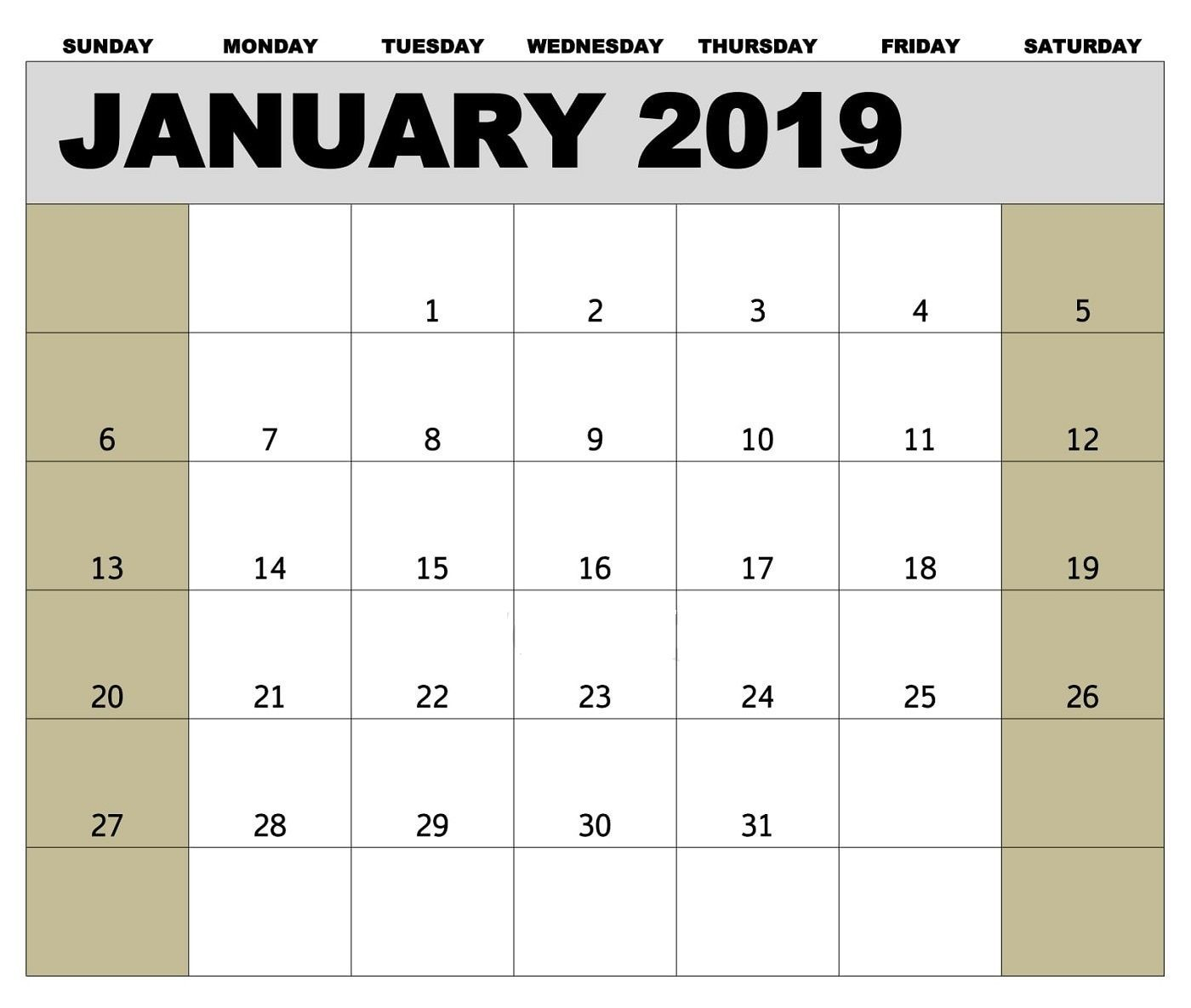 Canada Holidays Calendar For January 2019 | Template Of