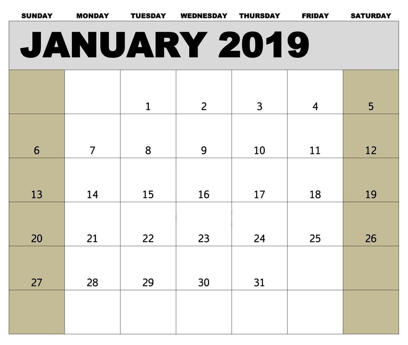 Canada Holidays Calendar For January 2019   Template Of
