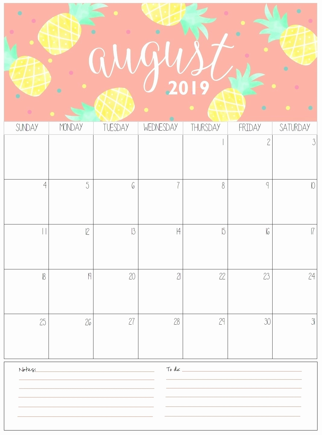 Catch A4 August 2019 Calendar Printable ⋆ The Best