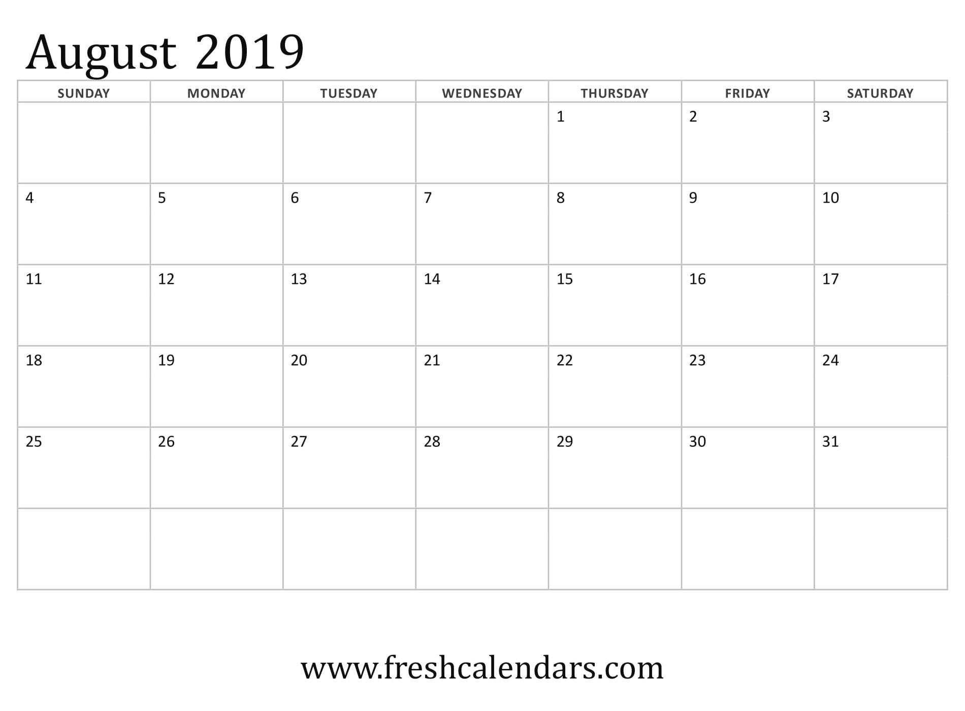 Catch August 2019 Monthly Monday Through Friday Calendar