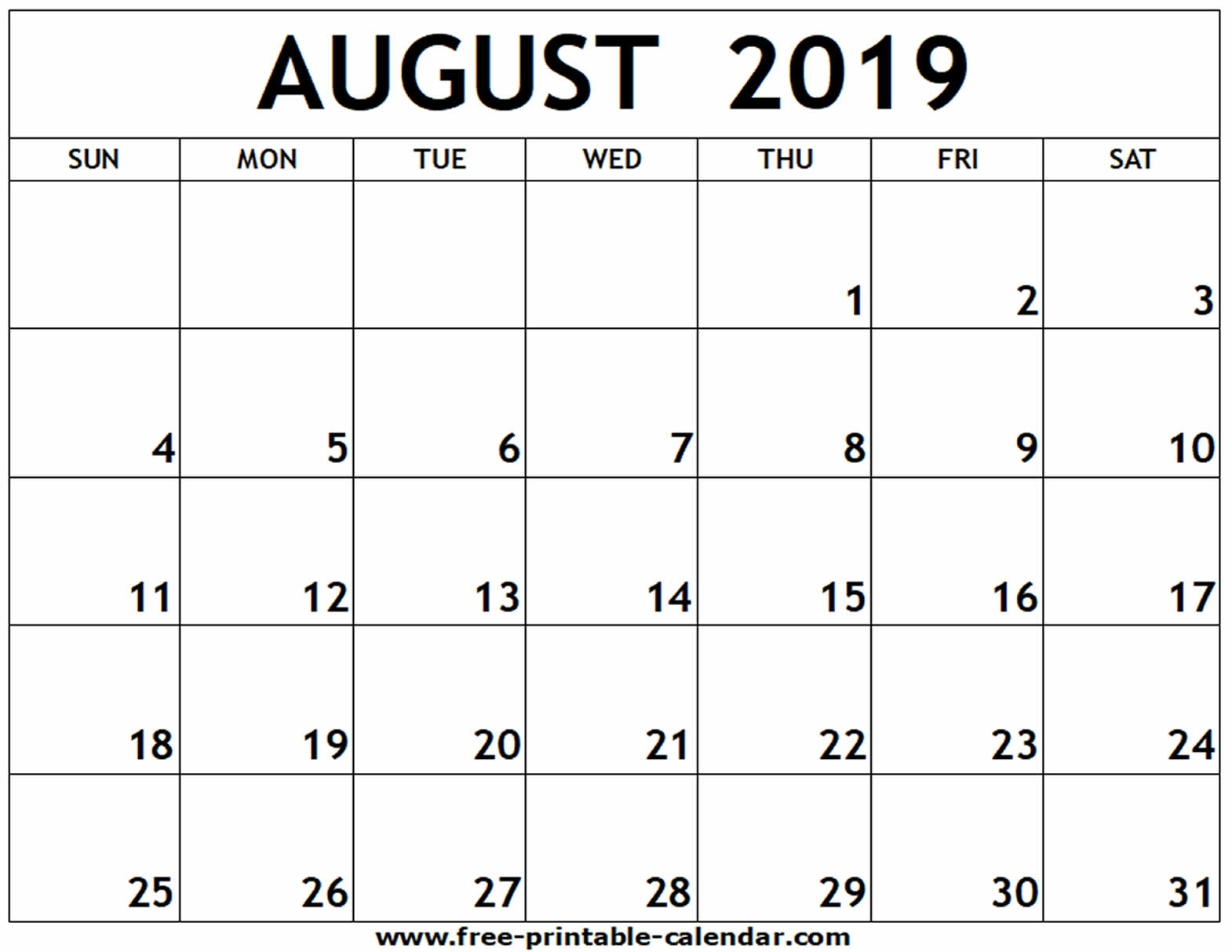 Catch August To December 2019 Printable Calendar ⋆ The Best