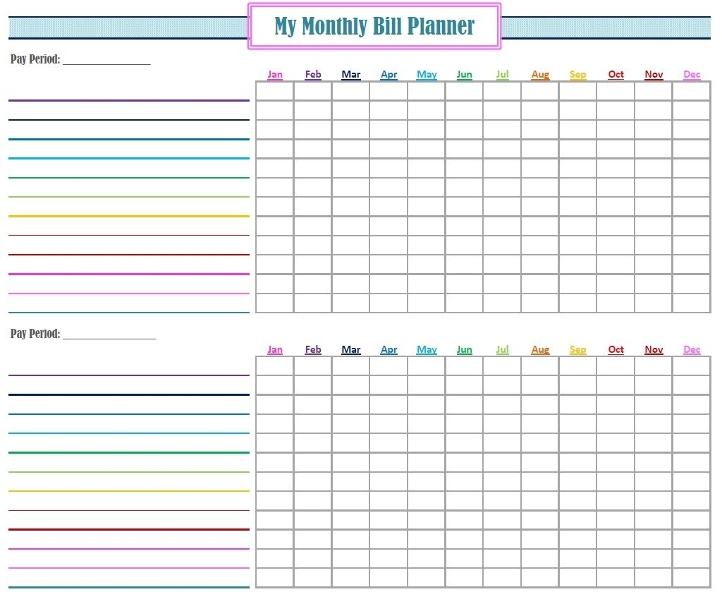 Catch Blank Printable Monthly Bill Organizer ⋆ The Best