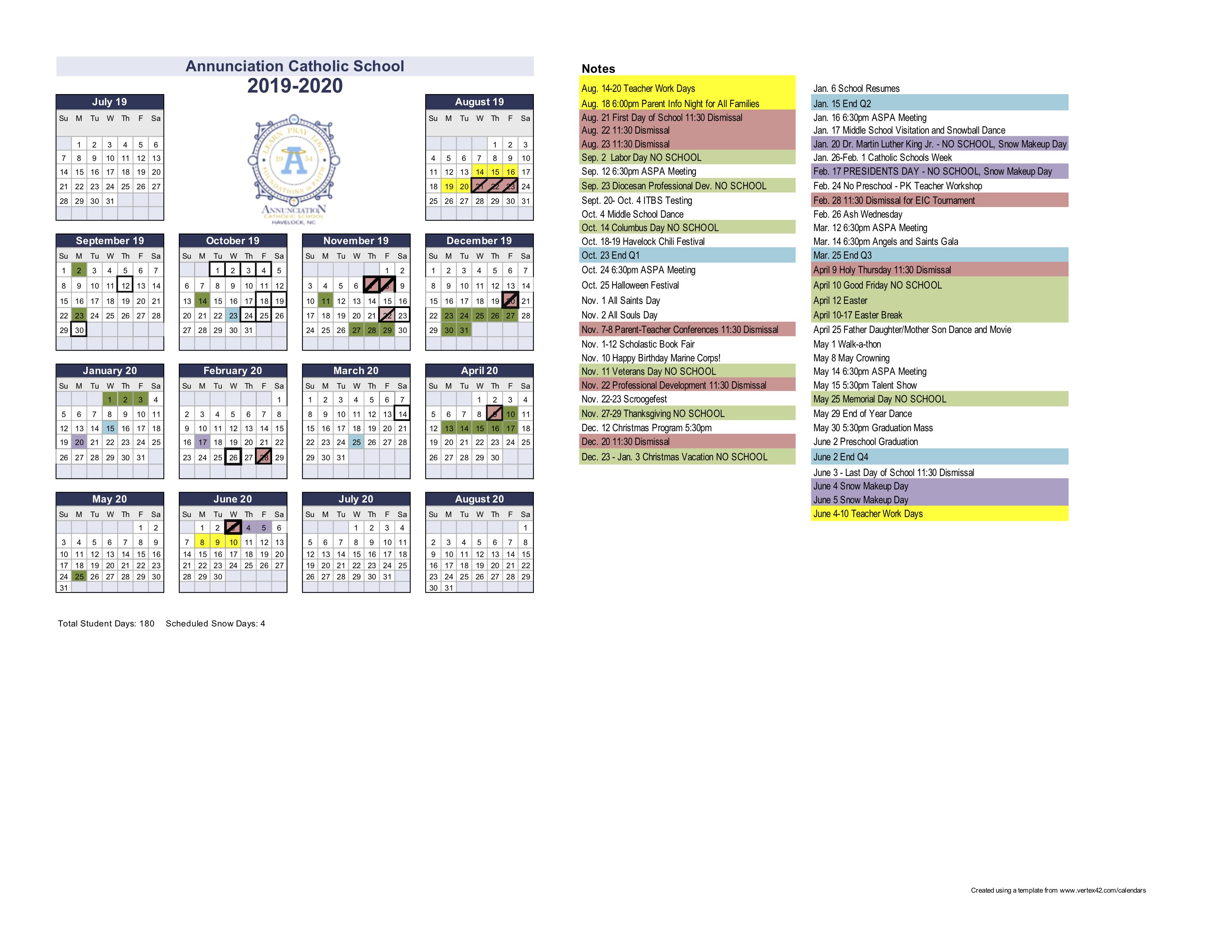 Catholic Calendar 2020
