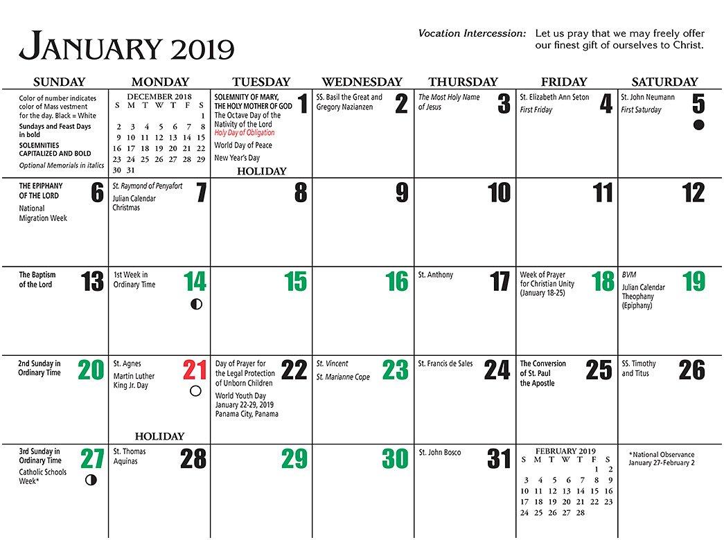 Catholic Liturgical Calendar 2019 To Download Or Print
