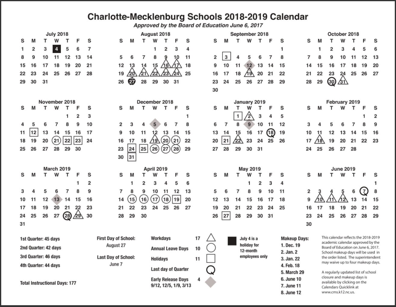Cms School Calendar With Holidays Images Pictures
