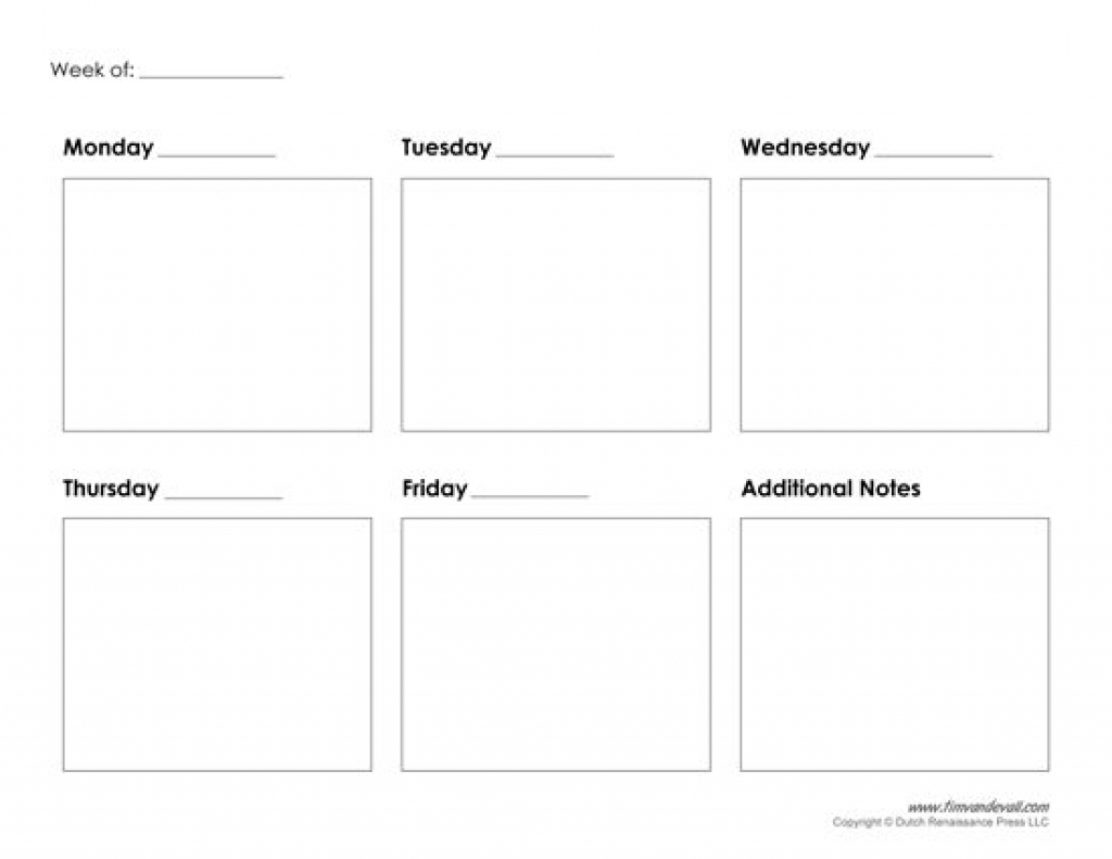 Collect Blank Calendar 5 Day Week ⋆ The Best Printable
