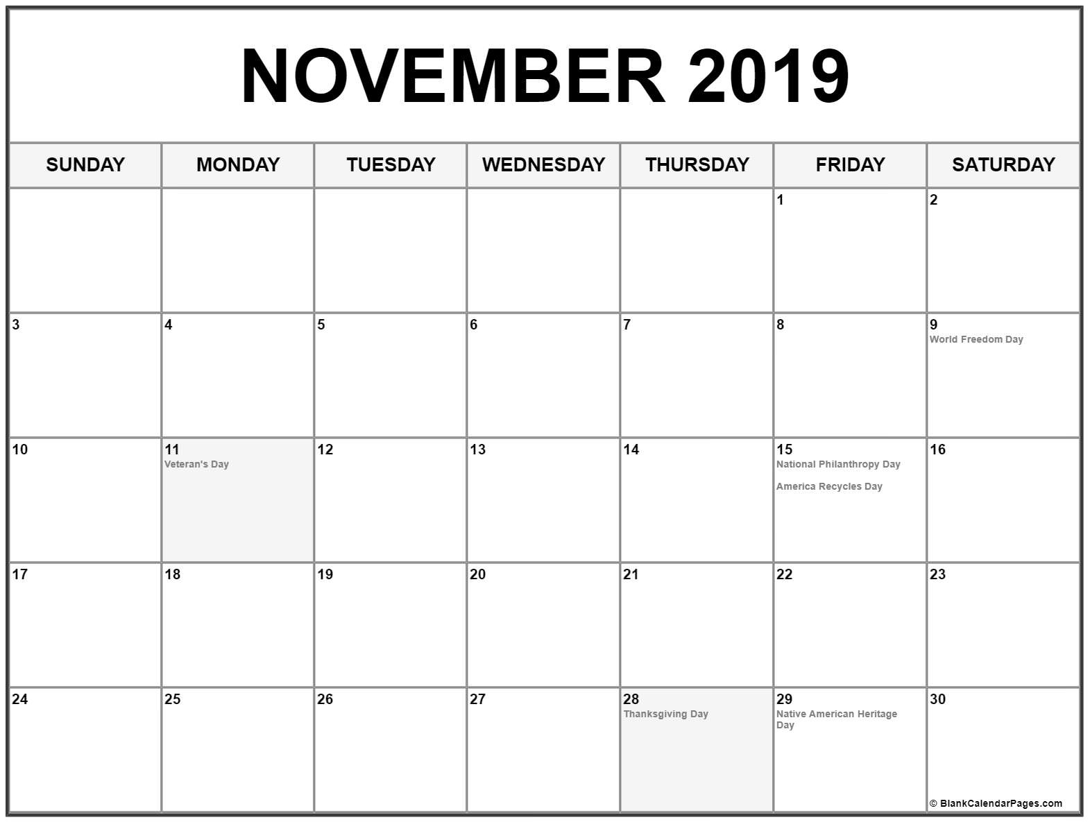 Collect November Calendar 2019 With Holidays ⋆ The Best