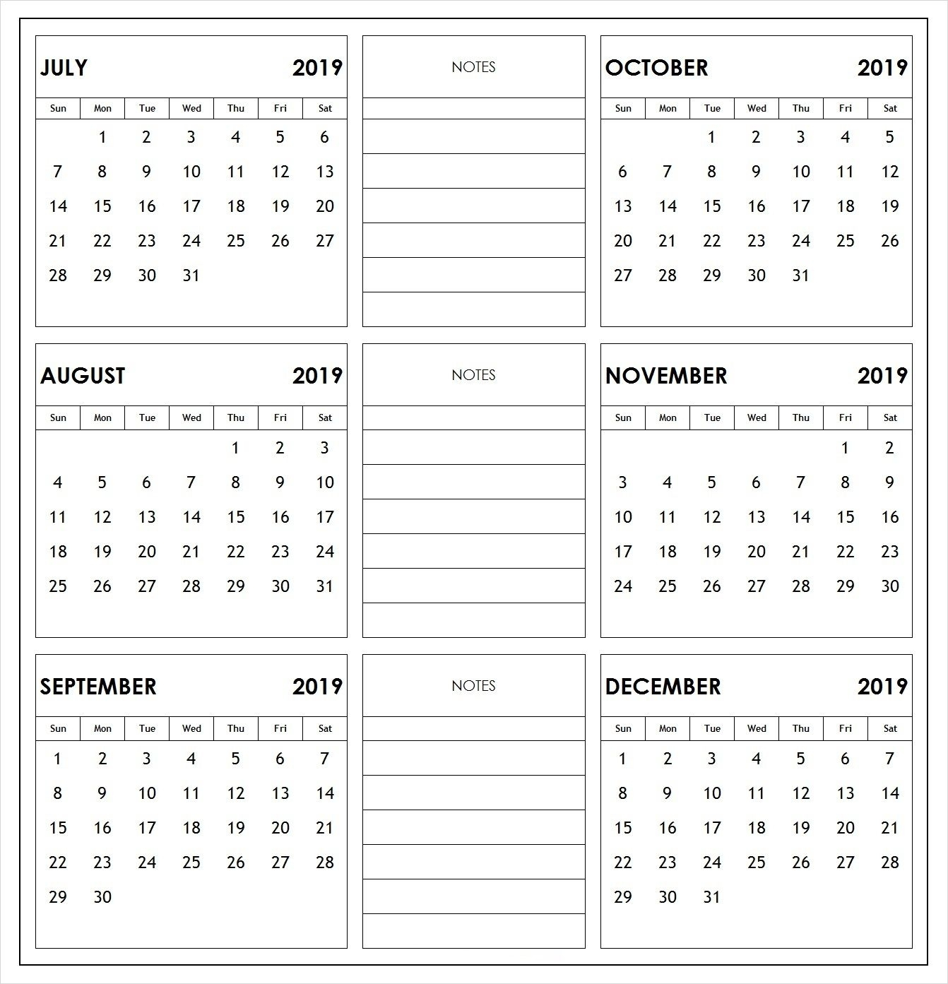 Collect Printable August Through December 2019 Calendars