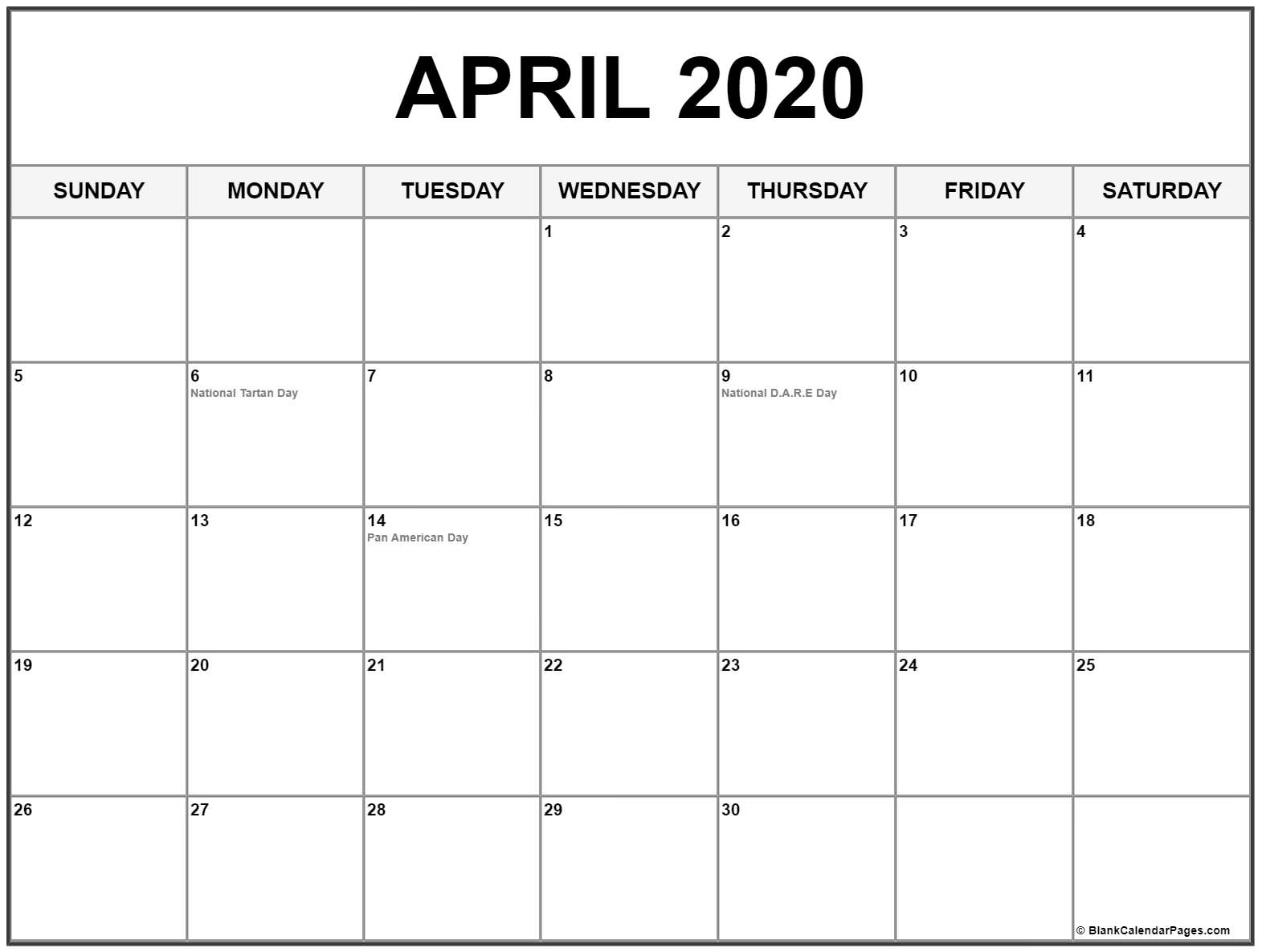 Collection Of April 2020 Calendars With Holidays