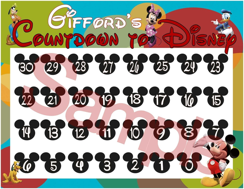 Countdown Calendar To Disney Vacation • Printable Blank