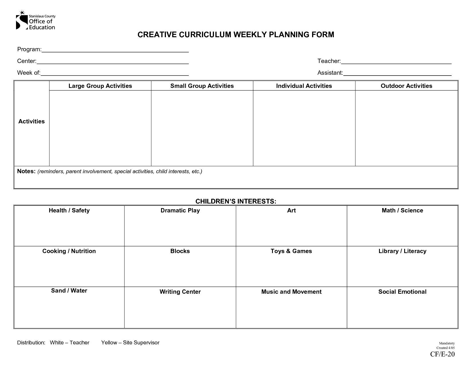 Creative Curriculum Lesson Plan Template - Bing Images