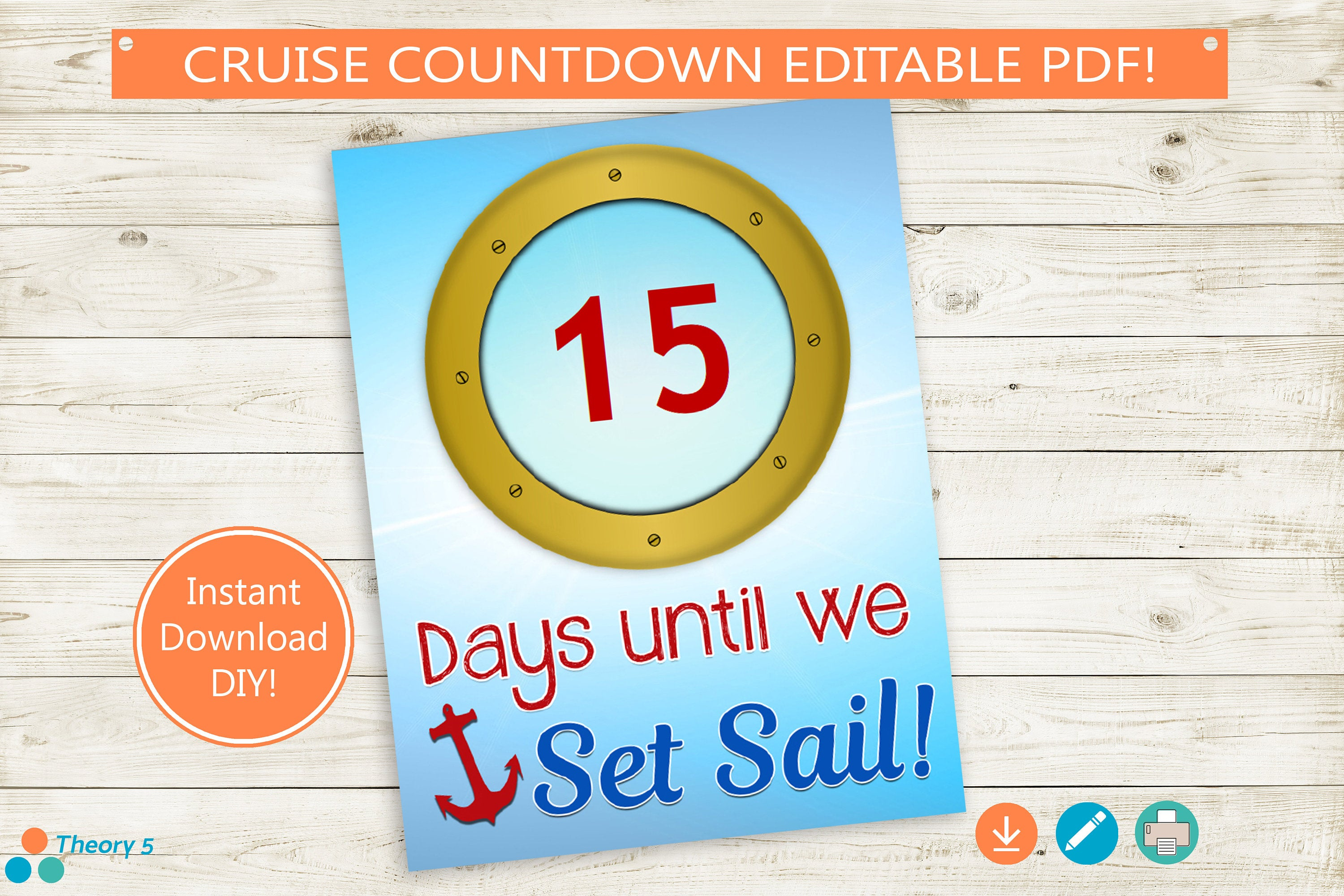 Cruise Vacation Countdown Printable // Editable Pdf // Instant Download,  Diy, Cruise Boat, Porthole, Print From Home, 8X10, 8.5X11, Tear Off