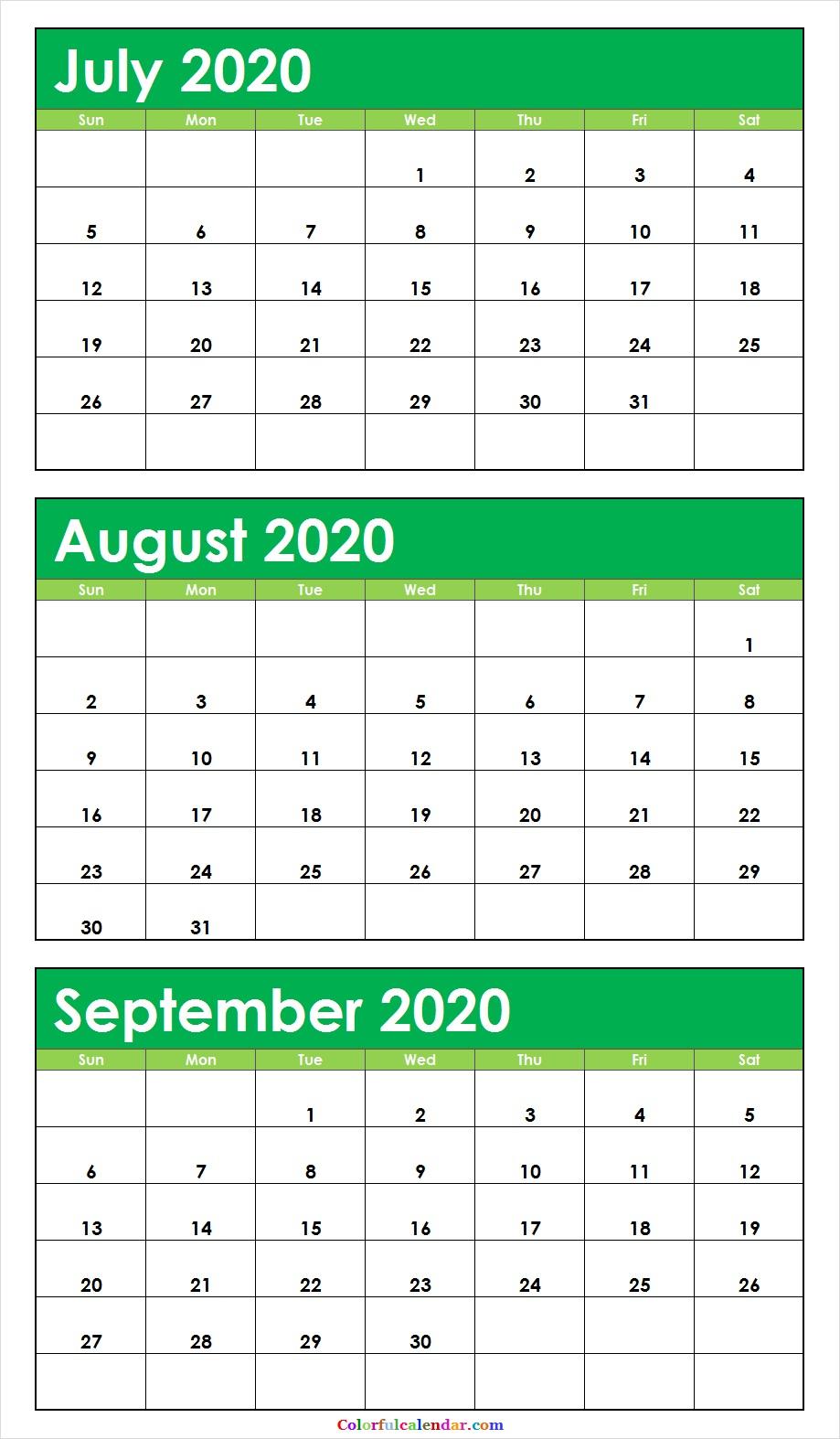 Cute July August September 2020 Calendar Wallpaper | 2020