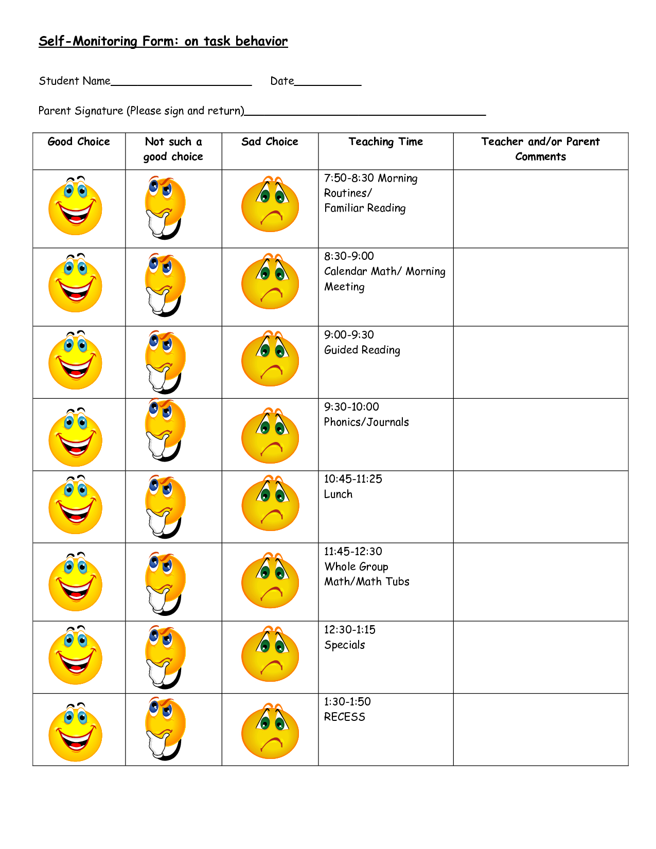 Daily Behavior Chart Template | Autism Ideas | Classroom