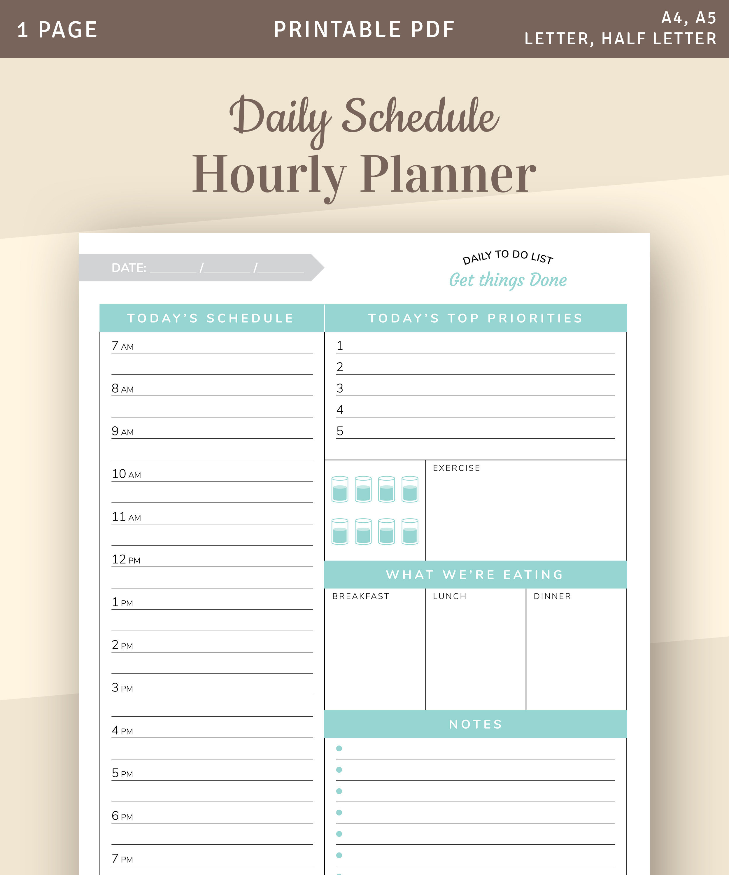 Daily Planner 2019 2020, Daily Planner Printable Template With Top Daily  Priorities, Daily Schedule Hourly Planner, Agenda Template, Pdf