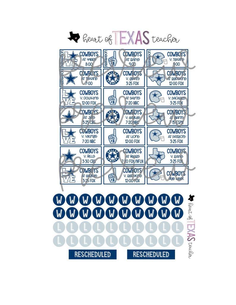 Dallas Cowboys 2019-2020 Season Schedule Stickers For Erin Condren Life  Planner {Instant Download}