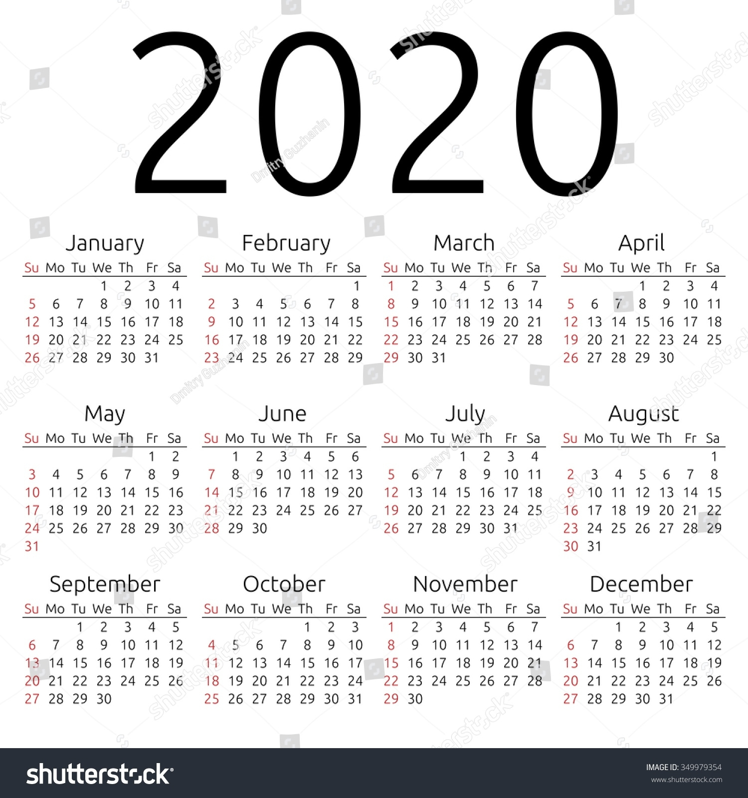 Dashing 2020 Calendar With Week Numbers • Printable Blank