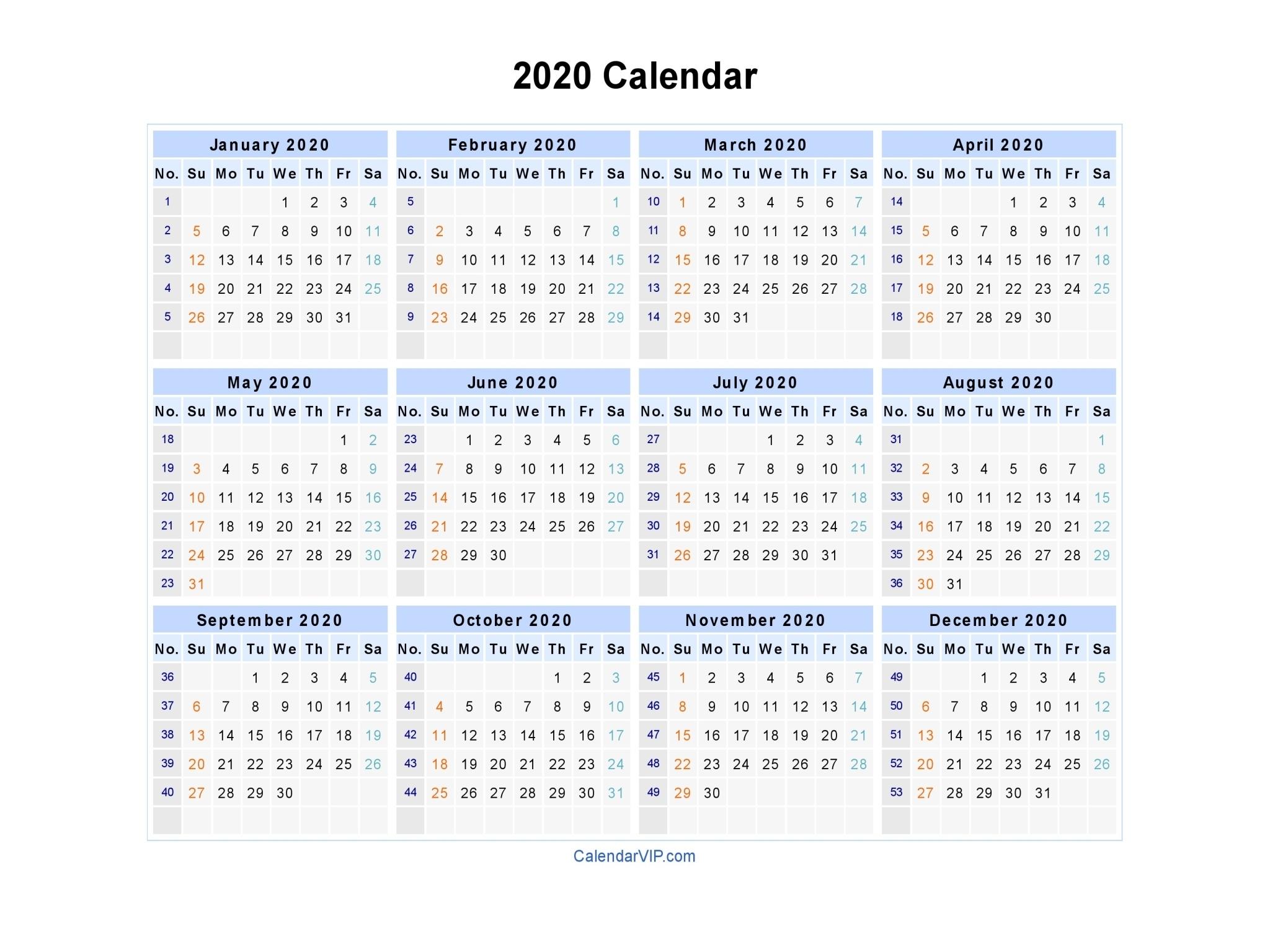 Dashing 2020 Calendar With Week Numbers • Printable Blank