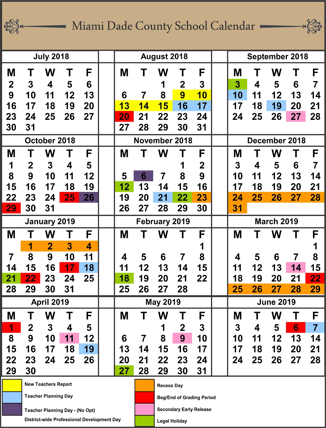Dashing School Calendar 2019-18 Lee County • Printable Blank