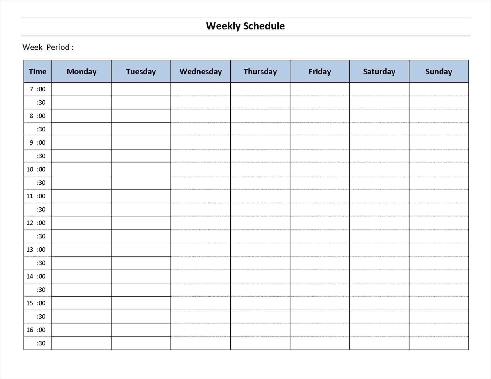 Day Week Calendar Template Schedule Printable | Smorad